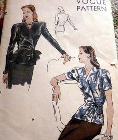 Vogue 5276 Blouse 1944 c/c sld Vogue Sewing Patterns, Wrap Blouse, 1950s, 18th