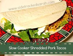 This Slow Cooker Shredded Pork soft tacos is a bit spicy, but not overwhelmingly so. Simple and delicious – this slow cooker shredded pork soft taco meal can easily be prepared for the freezer as well. Slow Cooker Pork, Slow Cooker Recipes, Crockpot Recipes, Pork Recipes, Shredded Pork Tacos, Taco Meal, Soft Tacos, Most Delicious Recipe, Delicious Meals