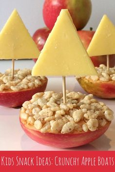 Simple Kids Snack Ideas: Crunchy Apple Boats You will need: Apples – each apple makes two boats Your favourite spread – we used peanut butter but you could try honey, sun butter or Nutella Puffed rice or Rice Bubbles Cheese Toothpicks