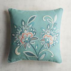 Turquoise & Coral Jacobean Floral Pillow   Pier 1 Imports