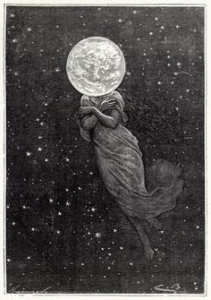 Émile Bayard (1837-1891) - From Autour De La Lune (All Around The Moon), by Jules Verne, Paris (Hetzel), c. 1870