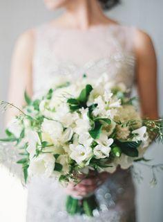 Elegant white bridal bouquet by Michael Daigan designs.  Pic by Jen Huang.