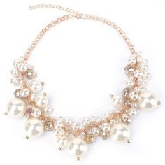 Fake Pearl Statement Necklace ($6.07) ❤ liked on Polyvore featuring jewelry, necklaces, accessories, imitation pearl necklace, faux pearl necklace, simulated pearl necklace, statement necklaces and bib statement necklace