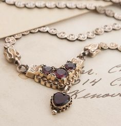 Victorian Book Chain Necklace with Heart-Shaped Garnet, $425.