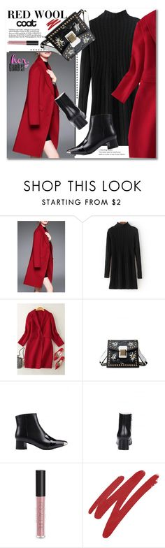 """RED WOOL coat"" by svijetlana ❤ liked on Polyvore featuring NARS Cosmetics, woolcoat and gearbest"