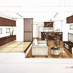Interior Design Renderings, Drawing Interior, Interior Rendering, Interior Sketch, Architecture Design, Color Plan, House Sketch, Paper Houses, Decoration