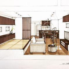 新しい機能を使ってみる 比べやすくてイイネ✨ #内観パース #建築パース#手描きパース#copic #sketch_arq #sketch#interior #interiorplan #artarchworks #arch_more #archisketcher #リビングダイニング #小上がり#タタミコーナー