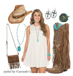 Soak up the last of your #summerdays in a loose white dress from #Cavenders paired with fringe and #turquoise accessories. Complete your outfit on an iconic straw cowboy hat and tip it to the best summer yet! Find all of these items at Cavenders.com.