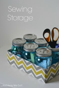 Mason Jars and the box they came in made pretty. Great idea for so many things!