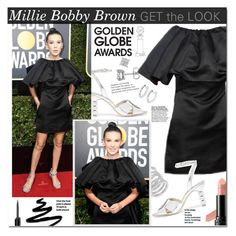 """""""Millie Bobby Brown - golden Globes 2018"""" by mery90 ❤ liked on Polyvore featuring Sophia Webster, Cole Haan, Avon, Anita Ko, Bobbi Brown Cosmetics, GetTheLook, RedCarpet, GoldenGlobes and CelebrityStyle"""