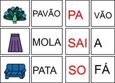 GRAVURAS PALAVRAS E SÍLABAS PARA A FORMAÇÃO DE PALAVRAS