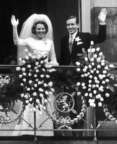 Queen Beatrix and Prince Claus of the Netherlands on their wedding day in the 1960s