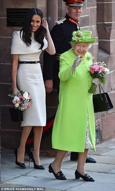 The Queen and Meghan were all smiles as they left Chester Town Hall