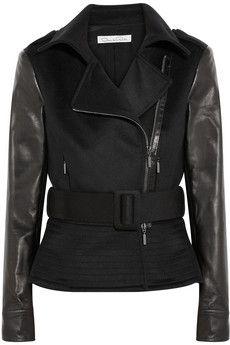 Oscar de la Renta Leather-paneled wool-blend biker jacket | NET-A-PORTER