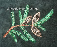 I ❤ embroidery . . .lovely Pine cones and Needles!  embroidery - fly stitch