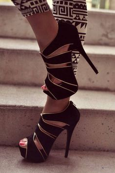 Black heels with gold accent