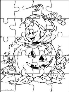 Printable jigsaw puzzles to cut out for kids Halloween 8 Coloring Pages