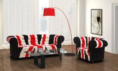 image for Velvet Union Jack Sofa and Armchair