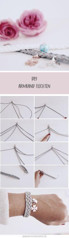 DIY Armbänder selber machen. Schönes Armband aus Lederband schnell und einfach flechten. Kreativ DIY Idee - Schmuck basteln. Die Armbänder sind super als Geschenk für die Freundin oder Mama.