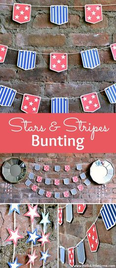 DIY Stars and Stripes Bunting ... a fun + easy way to add patriotic decor to your home, perfect for 4th of July, Memorial Day, or any festive occasion! Get the free printable for this American flag inspired banner, then assemble it in minutes. This DIY re