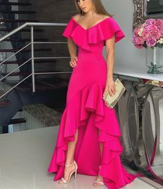 Off Shoulder Floor-Length High Waist Plain Dress CR 1981 in 2020 Dressy Dresses, Party Wear Dresses, Elegant Dresses, Beautiful Dresses, Dress Outfits, Party Dress, Fashion Dresses, Dress Up, Lace Dresses