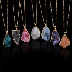 100% Doğal Taş Kolye Kolye Düzensiz Renkli Ametist Taş Charms Takı Collares bijoux piedras naturales