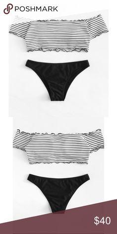 0e36bfce28016 Black White Striped Off Shoulder Bikini 🌞 Now carrying boutique swimwear!  On trend bikini