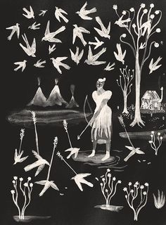 Black and white, primitive silkscreen art by artist Sophie Lecuyer. Abstract birds, flowers, a woman using a bow and arrow, and teepees are depicted in the scene.