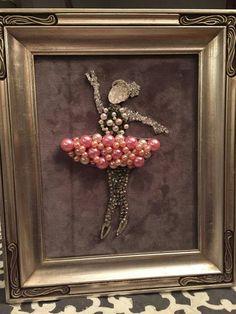 Exquisite one of a kind Ballerina Vintage Brooch Framed Artwork. Approx. 13 X 11.