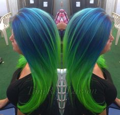 Unicorn hair! Gorgeous blue and green color melt by @toniroselarson Gorgeous color design, Toni! #hotonbeauty instagram.com/hotbeauty