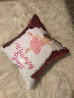 pink and white sequins flip style ballerina pillow Unicorn Pillow, Mermaid Pillow, Sequin Pillow, Pink Sequin, Customized Gifts, Ballerina, Sequins, Throw Pillows, Cute