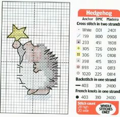 Cross-stitch Hedgehog with a Christmas Star...
