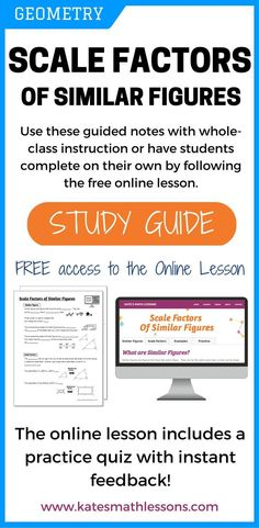 Studying similar figures? Check out this study guide that introduces similar shape and shows how to use ratios to find find scale factors. Includes similar triangles, rectangles, and more! There's also an online practice quiz with instant feedback. Graphing Linear Inequalities, Learn Math Online, Simplifying Expressions, Online High School, Daily Math, Order Of Operations, Secondary Math, Math Help, Online Lessons