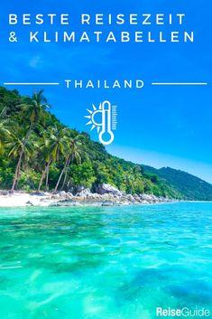 Regentage, Sonnenscheindauer und Temperaturen (auch Wassertemperaturen) von Thailand im Jahresverlauf. #thailand #klima #reisewetter Koh Phangan, Krabi, Phuket, Tao, Bangkok, Khao Lak, Rainy Season, Thailand Travel, Rainy Days
