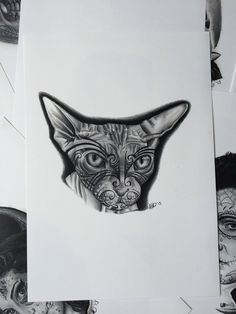 Sphynx cat Maori tattoo art print door Inkspirednl op Etsy https://www.etsy.com/nl/listing/233356479/sphynx-cat-maori-tattoo-art-print
