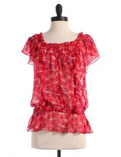 Sheer Flutter Sleeve Peplum Blouse by Express - Size S - $12.00 on LikeTwice.com