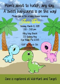 Baby Dinosaur Baby Shower Invitation By Martin Design