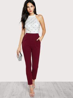 Zip Back Halter Backless Pocket High Waist Skinny Jumpsuit Women Summer Maxi  Deep V Neck Long Sleeve Jumpsuit 411be62177d0