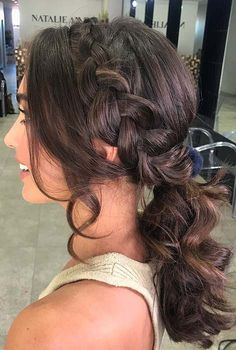 45 Elegant Ponytail Hairstyles for Special Occasions : Elegant Side Braid and Curly Ponytail Box Braids Hairstyles, Hairstyles To The Side, Ponytail Hairstyles For Prom, Homecoming Hairstyles, Wedding Hairstyles, Graduation Hairstyles, Hairstyles 2018, Elegant Hairstyles, Medium Hair Styles