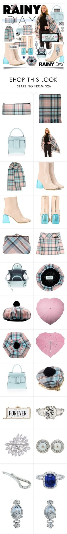 """Princess Diana,  Memorial Rose Tartan."" by haikuandkysses ❤ liked on Polyvore featuring Boyy, E L L E R Y, Kate Spade, Harry Winston, Breguet, rainyday, tartan, Memorial_Rose_Tartan, pink_and_blue and Princess_Diana"