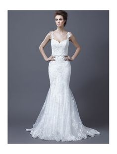Lace Spaghetti Straps Mermaid Wedding Dress with Trumpet Skirt