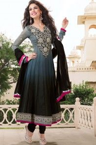 Gray and Black Pure Georgette  Salwar kameez