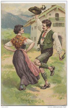 AUTRICHE  -  TYROL  - Folklore - Carte Gaufrée - Danse  -  Costume