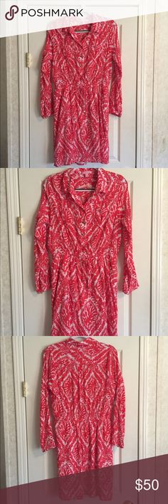 Lilly Pulitzer Dress Beautiful Dress in Euc...Armpits 20....Length 37...lined 100% Cotton...Pink/Coral Color Lilly Pulitzer Dresses Midi