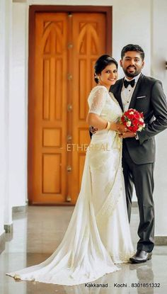 #etherealkochi #ethereal #bridal #bridalsaree #pastel #pastelsaree #bridalsinpastels #bridalwear #bridalfashion #occasionwear #partywear #wedding #weddingday #weddingsaree #prettybride #wedmegood #weddingsutra #howsthatwedding #bridal Christian Wedding Sarees, Christian Bride, Christian Weddings, White Saree Wedding, Kerala Wedding Photography, Pakistan Wedding, Kerala Bride, Bengali Wedding, Saree Gown