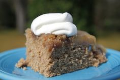"""Apple Cider Upside-Down Cake – A Retro Recipe Re-Run """"Really yummy and very easy. Normally I don't use cake mixes for cakes, but this one was really good with a cake mix. But you could probably sub your favorite spice cake recipe or even gingerbread….oh…wait. That was just a really good idea. I know what I am making later this week, after we scarf our way through this whole cake. Apple Cider Upside-Down Gingerbread!"""" 1966"""