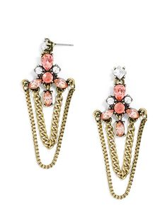 These feminine drop earrings feature rose-colored stones and delicate chain draping for a fluid statement drop.