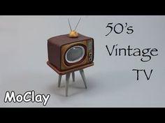 DIY Dollhouse miniature 50's vintage television - YouTube