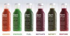 Our Detox juices  8 am—Awaken my body  Carrot, Pineapple, Green apple, Orange, Grapefruit, Lemon.