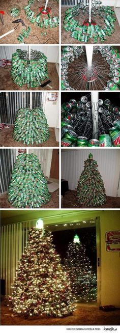 Perfect college-student tree, except with beer cans